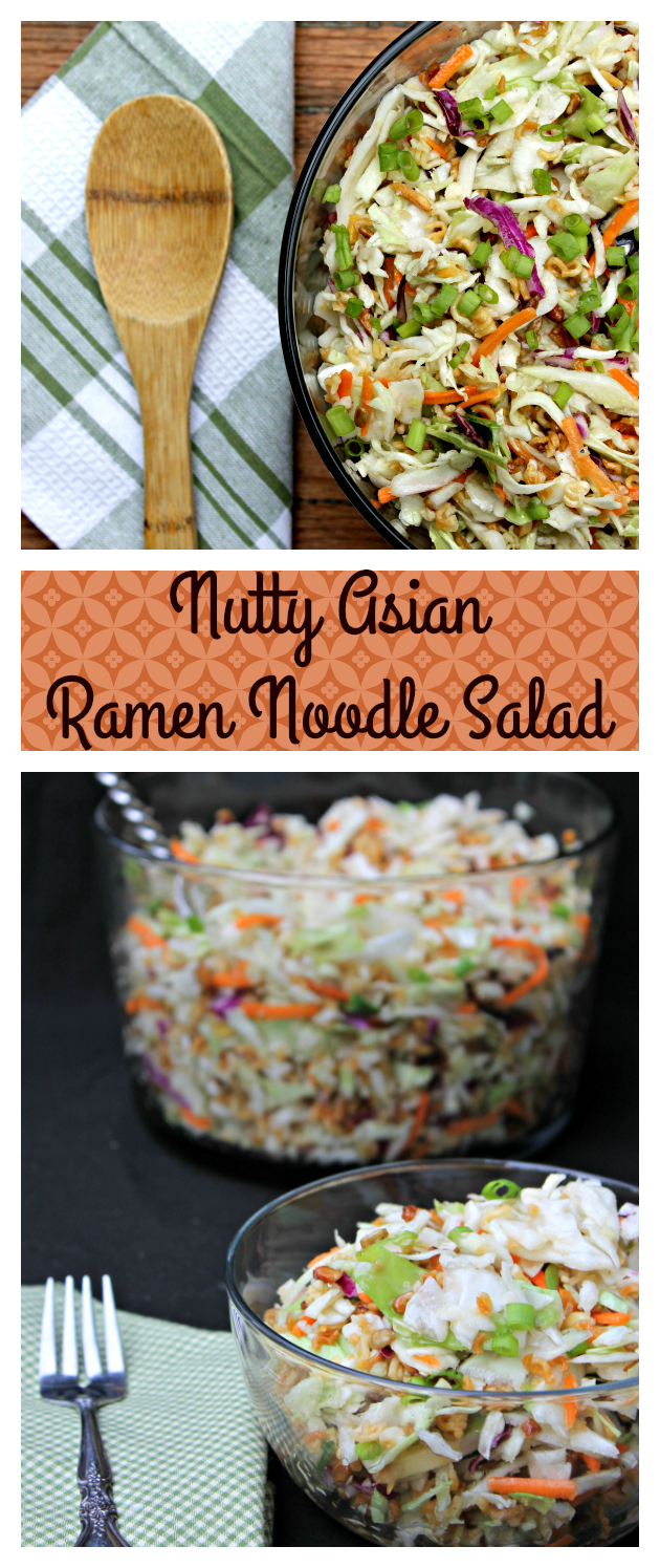 No matter what time of the year, this Nutty Asian Ramen Noodle Salad recipe is the perfect party side dish!