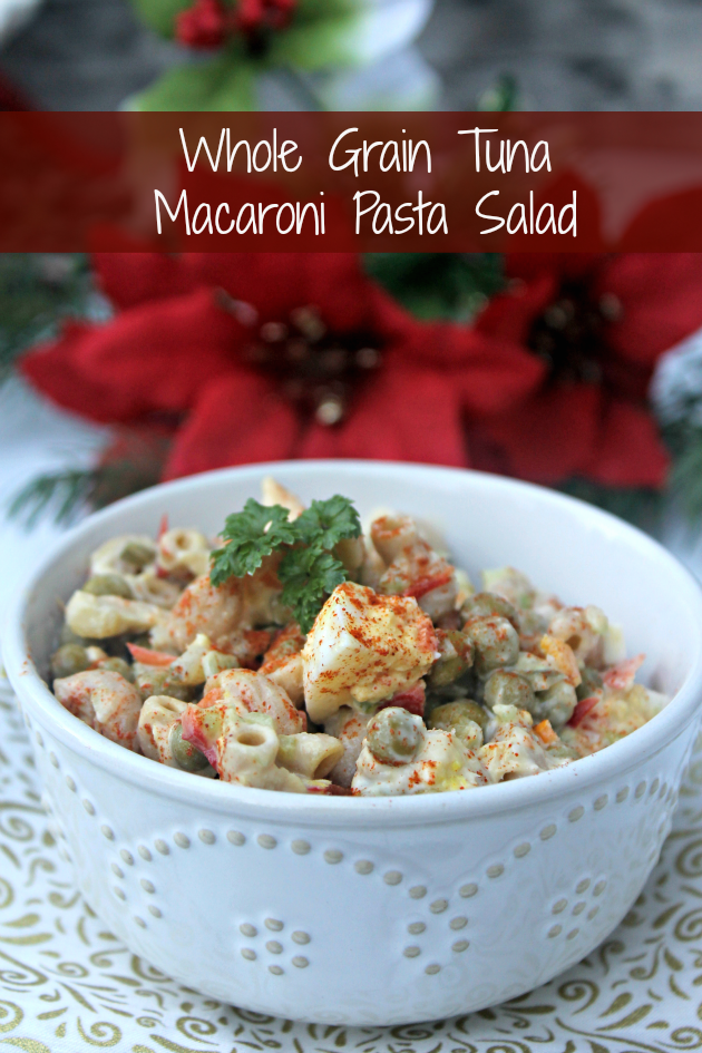 This Whole Grain Tuna Macaroni Pasta Salad is a side that is sure to please at your next holiday party or get together!