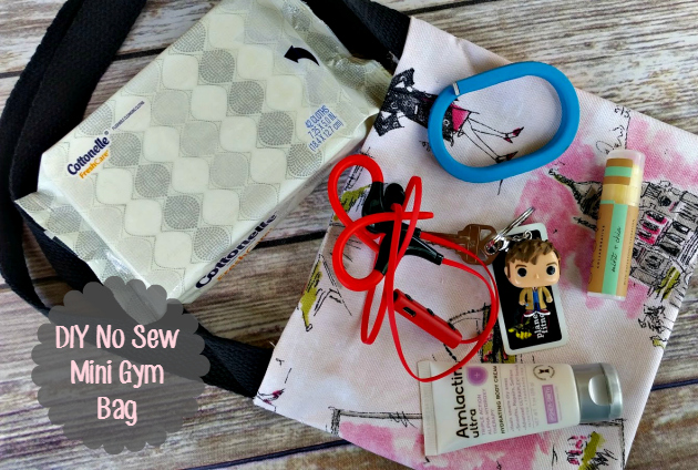 30 Minute DIY No Sew Mini Gym Tote Bag - Kicking It With Kelly