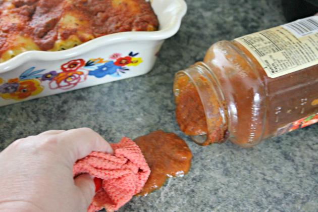 Vegetarian Lasagna Roll Ups Recipe spilled sauce