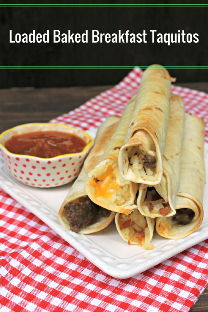 My Freezer Friendly Loaded Baked Breakfast Taquitos are delicious, portable and the kids love them!