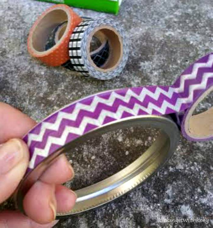 Washi Tape Mason Jar Bands Halloween Wreath taping