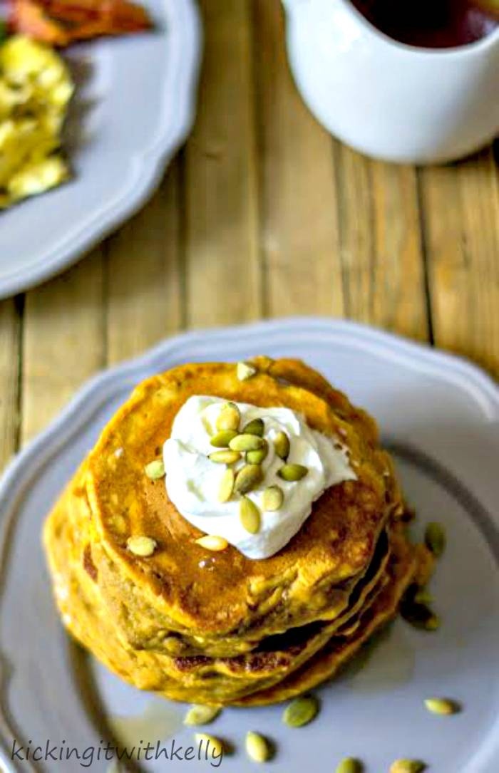 Pumpkin Spice Protein Pancakes | Kicking It With Kelly