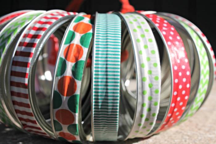 Washi Tape Mason Jar Lid Christmas Wreath 1