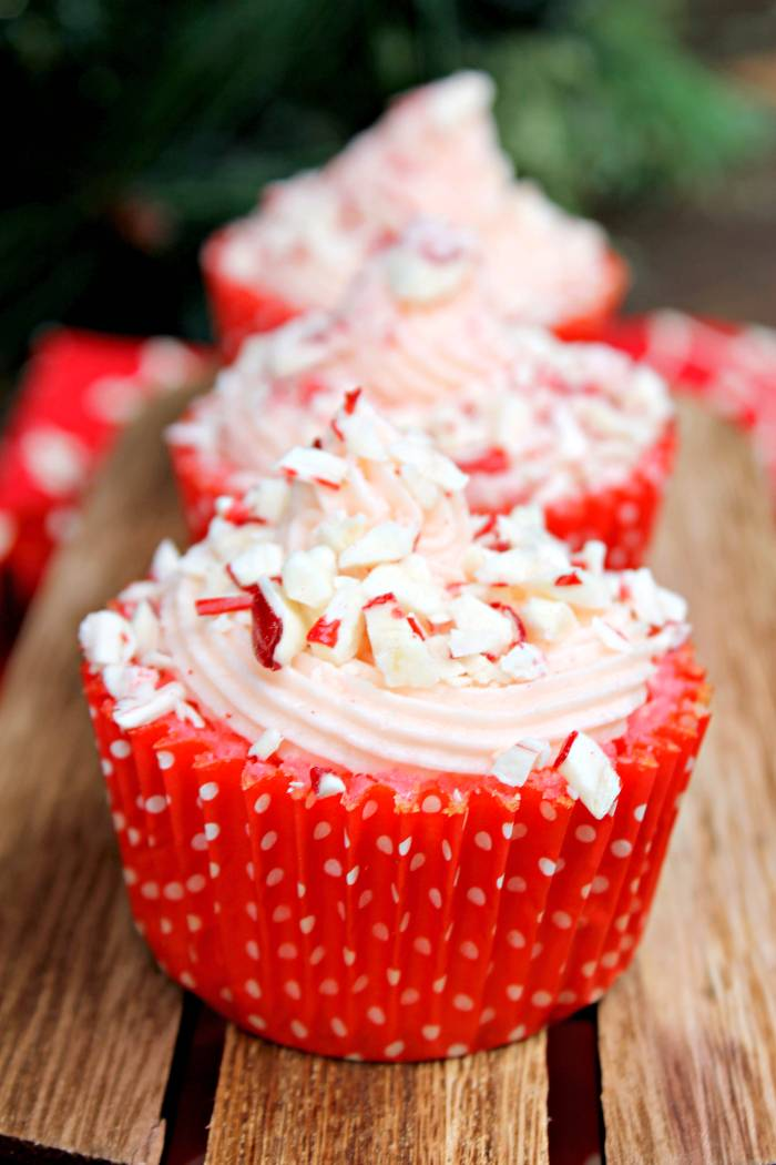 Candy Cane Cupcakes with Peppermint Buttercream Frosting