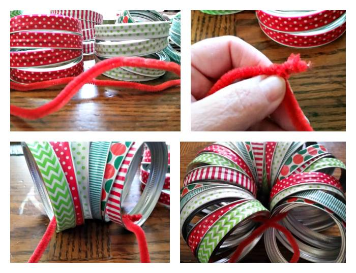 Washi Tape Mason Jar Lid Christmas Wreath step two