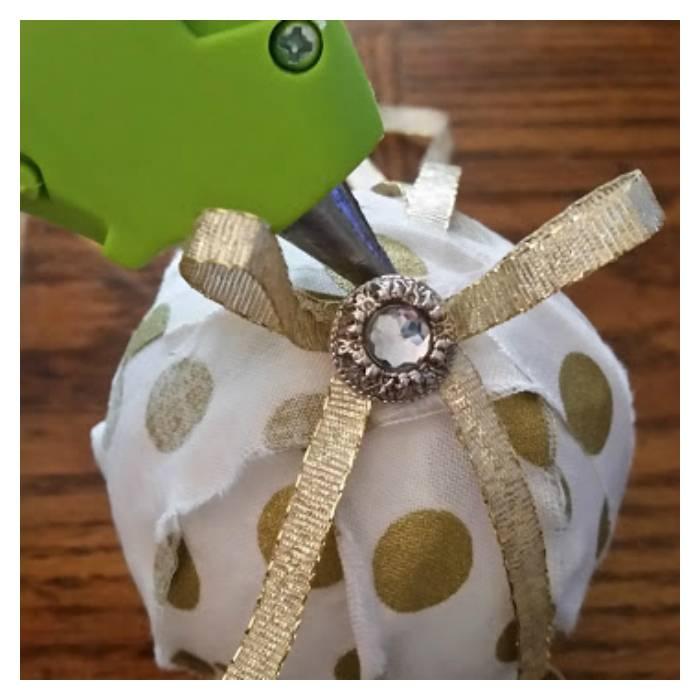 Handmade Christmas Rag Ball Ornaments step five