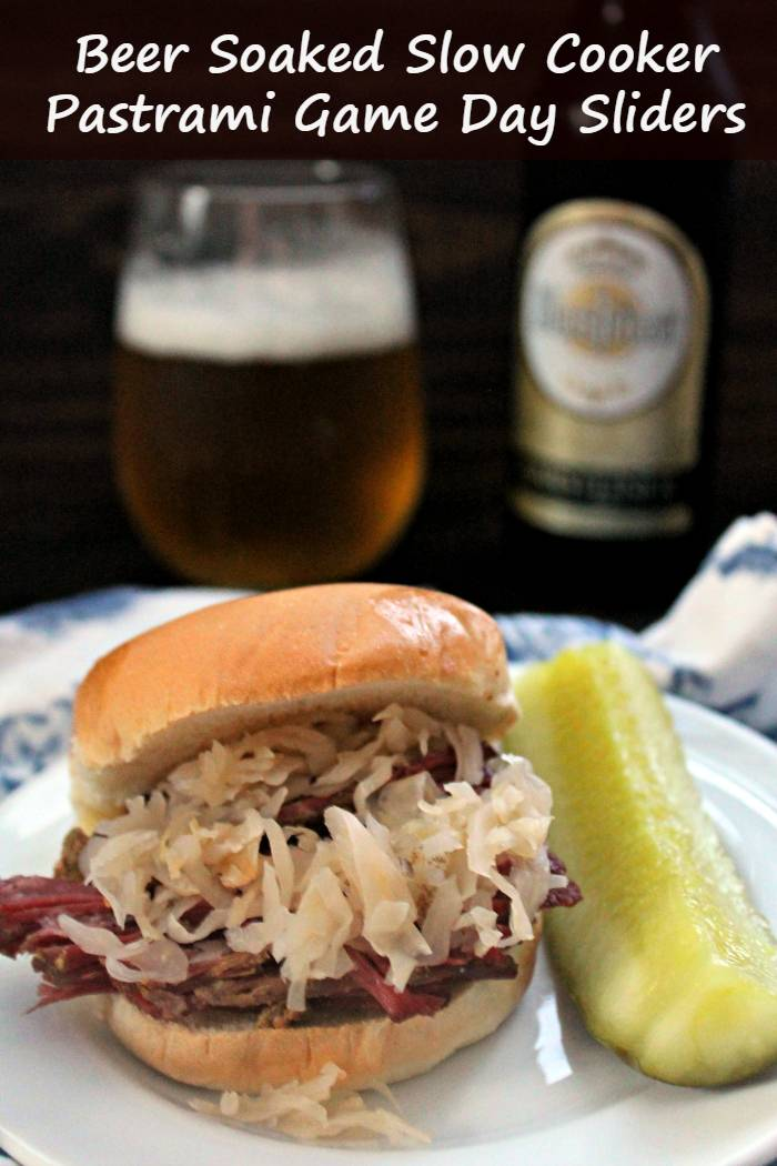 msg 4 21+ When it comes to the Big Game, my husband and I may be on opposite sides of the proverbial playing field. One thing we always agree on is how much we enjoy a delicious tailgate spread. One of our favorite eats are my Beer Soaked Slow Cooker Pastrami Game Day Sliders. #ad #BeersAndBuns @krogerco @pepperidgefarm @warsteinerUSA