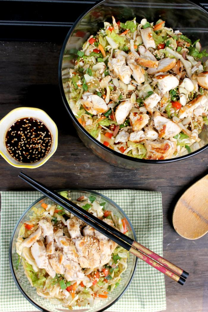 I used to hate salads, but I found by adding ingredients you love, a salad becomes a meal to be savored. That perfectly describes my Grilled Thai Chicken Chopped Salad.