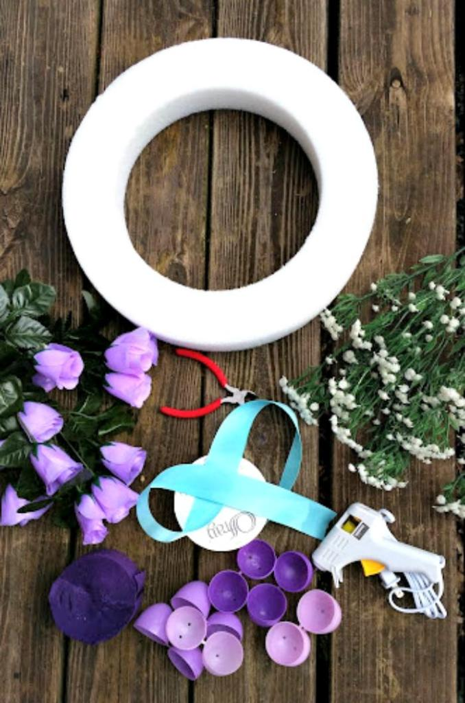 Easy To Make Plastic Easter Egg Wreath Craft supplies