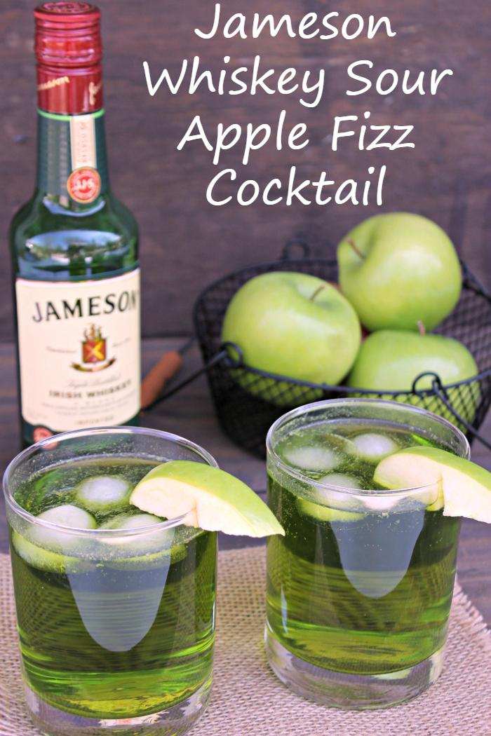 My Jameson Whiskey Sour Apple Fizz is the perfect signature cocktail for your next party. #ad @drizly