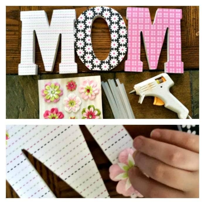 DIY Decorative Scrapbook Covered Wooden Letters step two