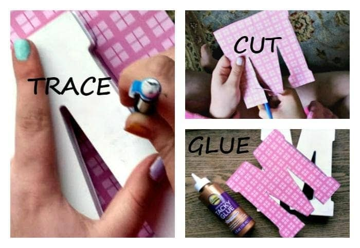 DIY Decorative Scrapbook Covered Wooden Letters step one