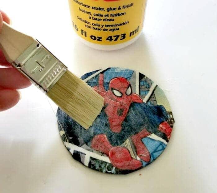 Superhero Mason Jar Lid Coaster Craft For Dad step two