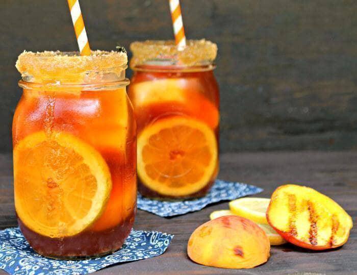 Grilled Peach And Brown Sugar Bourbon Iced Tea