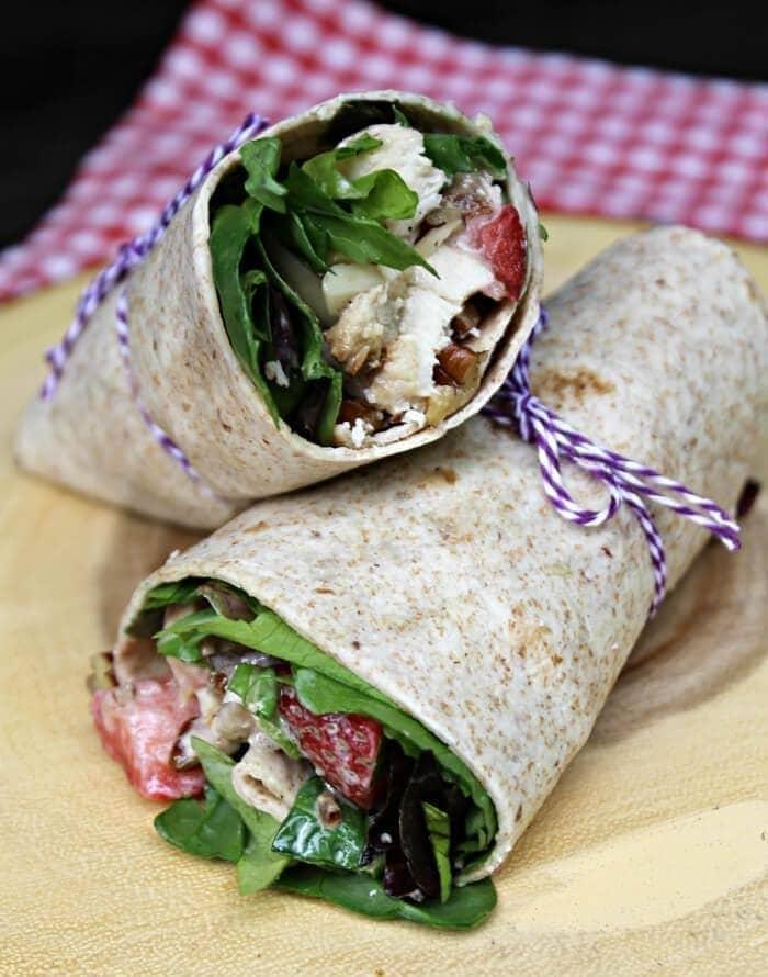 Strawberry Chicken Salad Sandwich Wraps