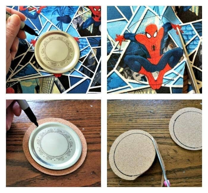 Superhero Mason Jar Lid Coaster Craft For Dad step one