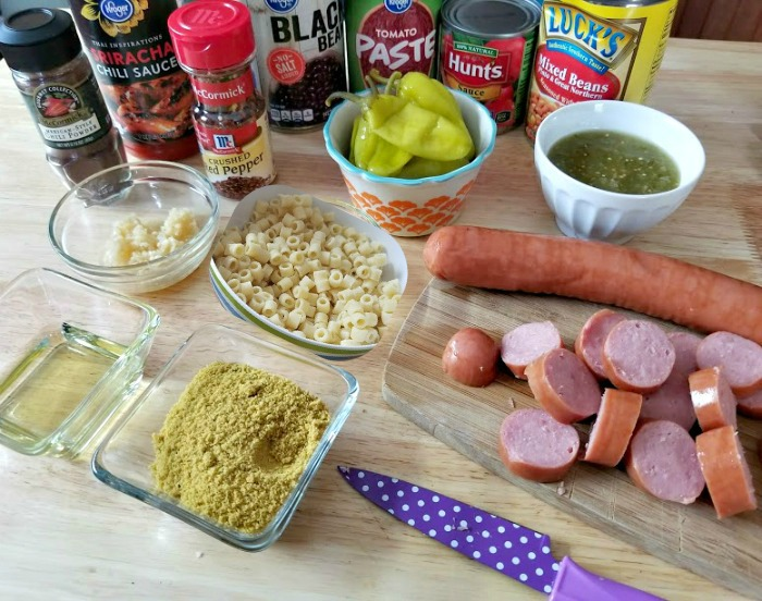 Spicy Crock Pot Sausage, Bean And Pasta Soup ingredients