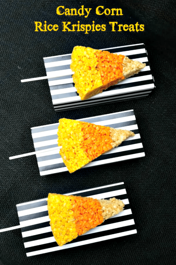 This Candy Corn Rice Krispies Treats recipe is a fun and easy Halloween snack recipe for kids. They make a great classroom treat too!