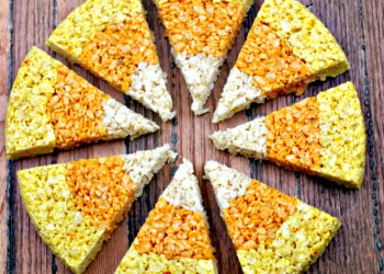 Fun Halloween Snacks: Candy Corn Rice Krispies Treats