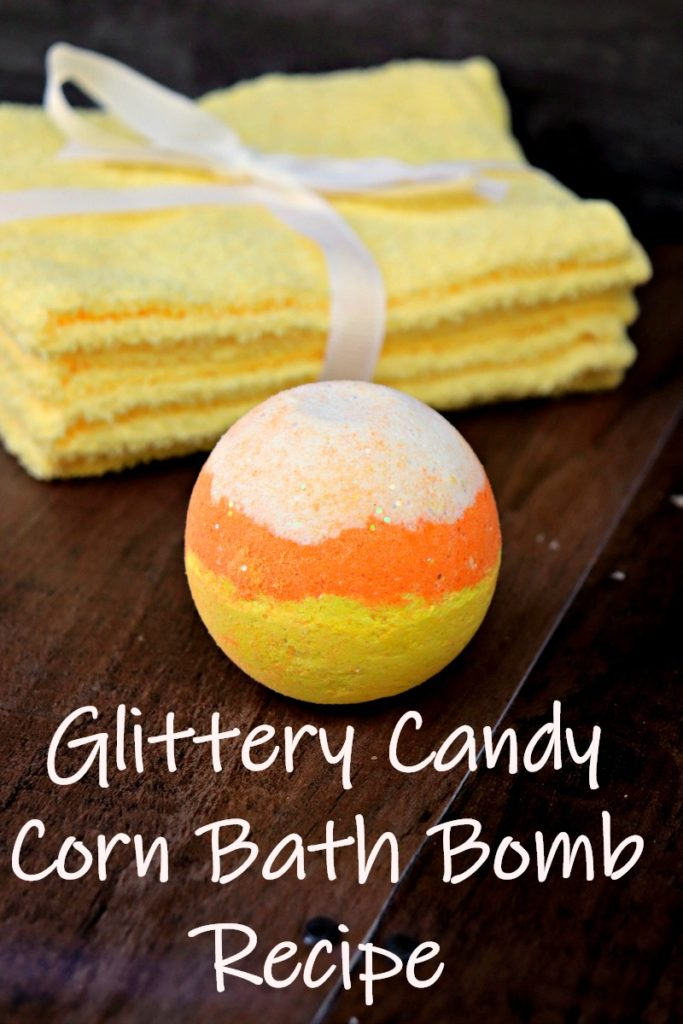 It only takes about 15 minutes to make this Glittery Candy Corn Bath Bomb Recipe. It is a great tactile activity the kids can help with!