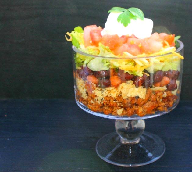 Layered Beef Taco Salad single