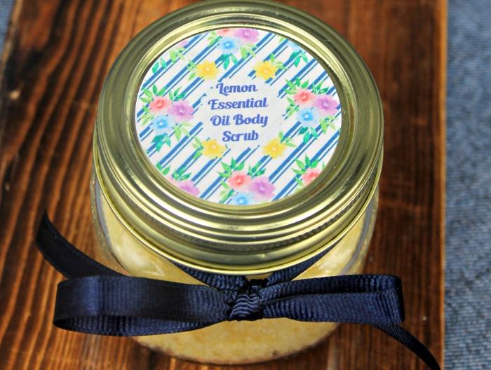 DIY Essential Oil Lemon Sugar Body Scrub jar