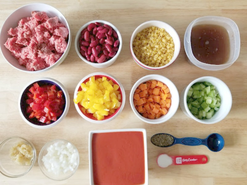 Instant Pot Pasta Ground Beef Fagioli Soup Ingredients