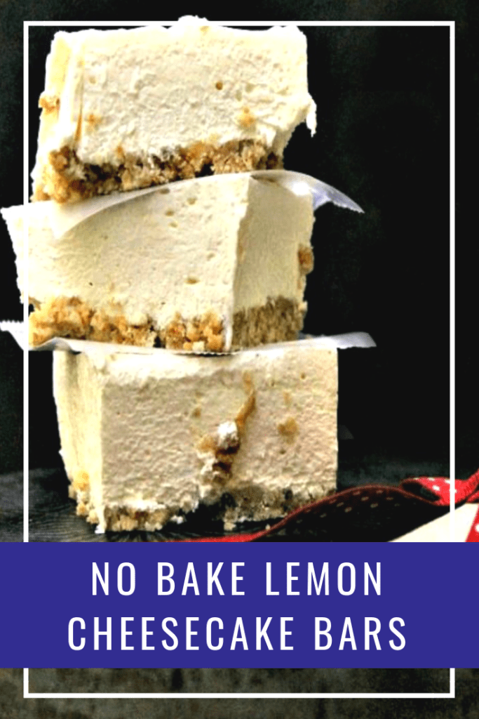 This no bake lemon cheesecake bars recipe with a nilla wafer crust are silky smooth and full of lemony flavor. They are the perfect easy to make dessert!