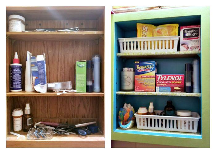 Easy $15 DIY Medicine Cabinet Makeover before and after