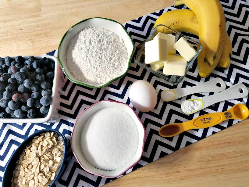 Blueberry-Banana Oat Breakfast Muffins ingredients