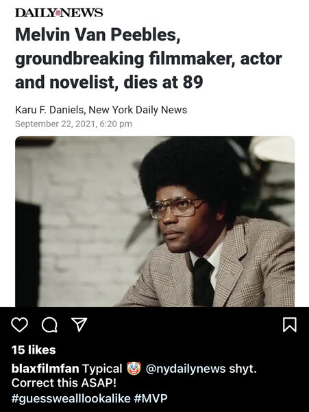 Daily News Blunder Clarence Williams III Melvin Van Pebbles