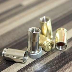 2customize Bouchons de valve design calibre 9mm douilles de calibre style vintage chrome, caps nickelés, lot de 2