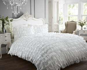 Flamenco peut peut New Parure de lit avec housse de couette à volants et 2taies d'oreiller Parure de lit, blanc, double