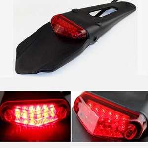 LEAGUE&CO Feu arrière & frein feux stop LED Fender Pour Moto Universel Enduro Trail Bike Trials DRZ400 (Lens rouge)
