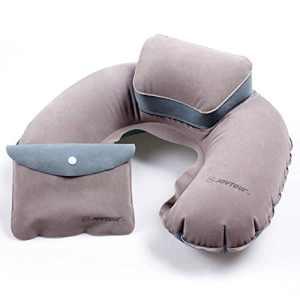 Lixada Portable pliant Cale-nuque coussin de nuque oreiller d?Air gonflable Forme de U en PVC flocage pour Camping Voyage Bureau Avion Hôtel
