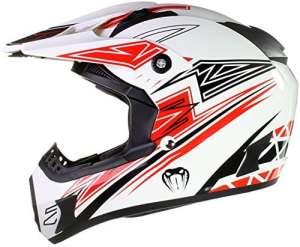 Qtech – Casque Viper de moto/enduro/MX tout-terrain – noir, rouge, orange et bleu – Rouge – XS (53-54 cm)