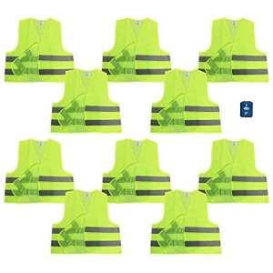 Com-Four Lot de 10JAUNES Gilet de sécurité 100% polyester taille unique DIN 471+ Gratuit Disque de stationnement avec grattoir et lèvre en caoutchouc