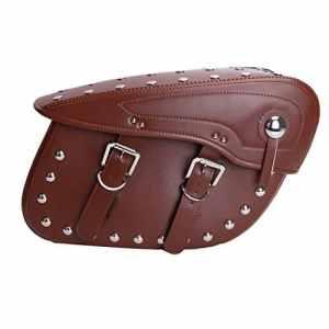 Wanoos 1paire Cowboy Boucle Moto sacoches sacoches latérales PU Cuir Sacs de selle