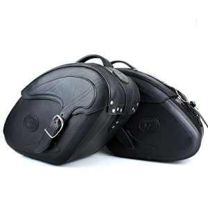 Sacoches en cuir noir avec fermeture rapide et verrouillable Set 2pièces poches Chopper Moto réduction d'action