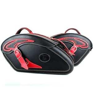 Sacoches Kit pour Chopper avec serrure et poches fermeture rapide Sacoche de cuir noir tribal rouge moto Exposition morceaux