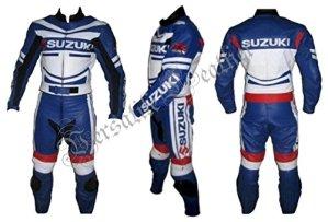 Suzuki GSX-R Bleu et blanc 2PIECE Combinaison Moto en cuir pour s'adapter pour moto vélo de course Cuir Conséquence étanches L
