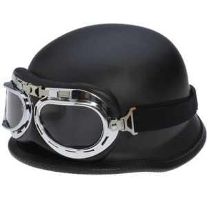 Dcolor Casque de moto avec lunettes De style allemand de Seconde Guerre mondiale