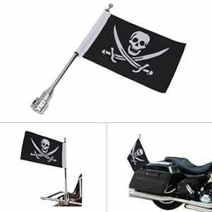 Mât de drapeau avec tête de mort Skull Drapeau pour moto Honda Goldwing CB VTX CBR Yamaha Harley Davidson