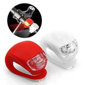 Mture LED Mini Silicone Set ,led phare lampe vélo clip-on bande en silicium éclairage 2 blanc and rouge