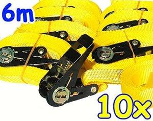 Timtina® Lot de 10sangles à cliquet jaunes 800kg 6m