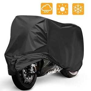 Housse de Protection pour Moto, Mopalwin Couverture Imperméable en Polyester 190T pour Moto, Scooter protège de la pluie, soleil, poussière, Anti-UV – 265*105*125cm (Noir)