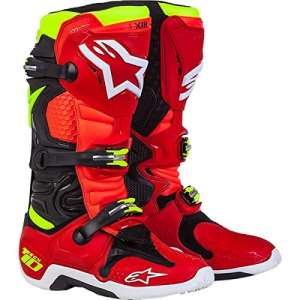 Bottes moto cross enduro Alpinestars Tech 10 Limited Edition 2017 42 ROSSO-NERO-GIALLO FLUO