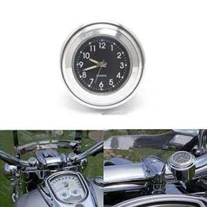 ViZe 7/8» 22mm Horloges de Guidon Moto Montre Pour Harley Motocycle Motif Argent