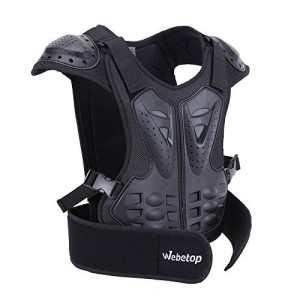 Webetop Veste de protection Dorsale Enfant Gilet de protection pour Moto/Sport Moto Veste Armure Complète du Corps Protection de Colonne Poitrine Epaule Noir L